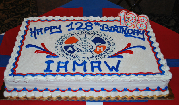 . IAM members attending classes at the Winpisinger Center today were treated to a cake commemorating the 128th anniversary of the founding of the Machinists Union.